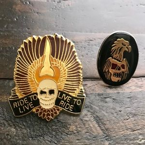 Other - Vintage Skull Motorcycle Pins